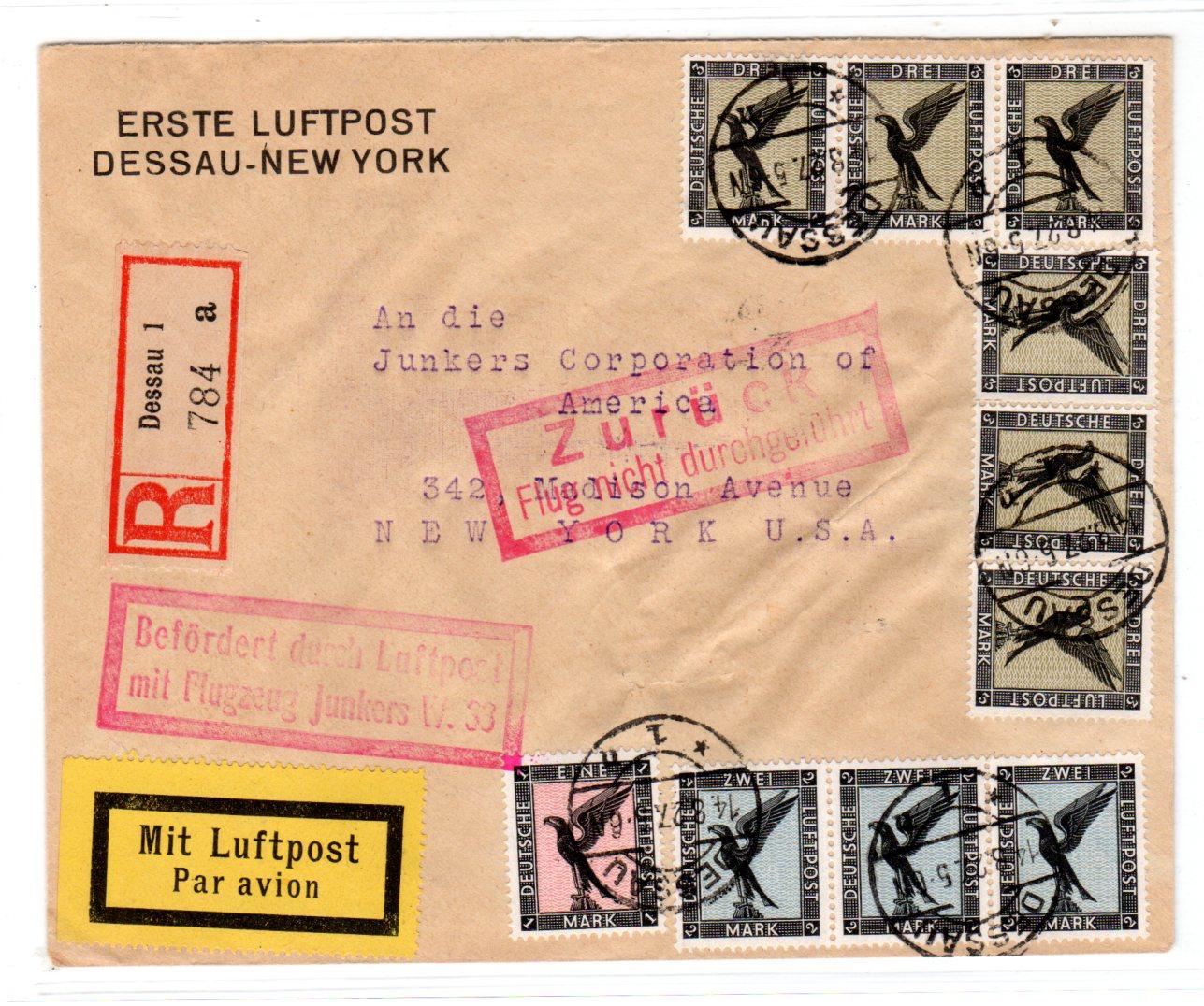 Brief Nach New York : Eingeschriebener flugpostbrief von dessau nach new york