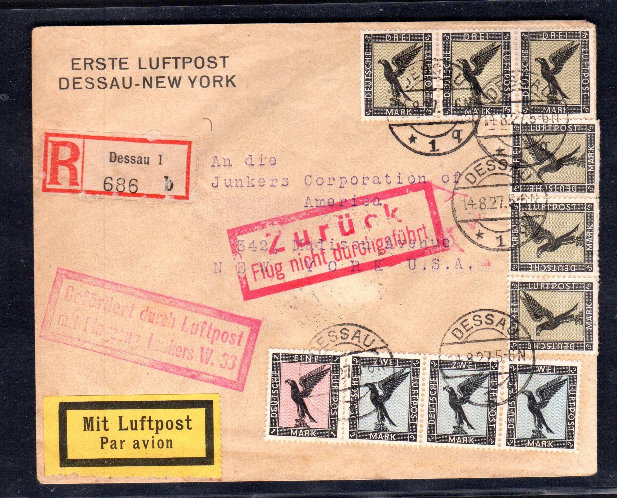 Brief Nach New York : Dr eingeschriebener flugpostbrief von dessau nach new