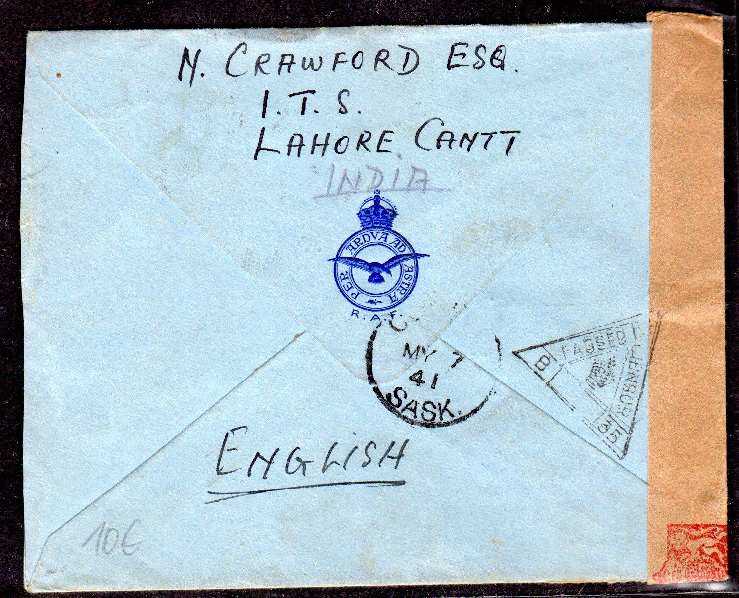 Briefe Nach Indien : Zensurbrief von indien nach canada · philatelie