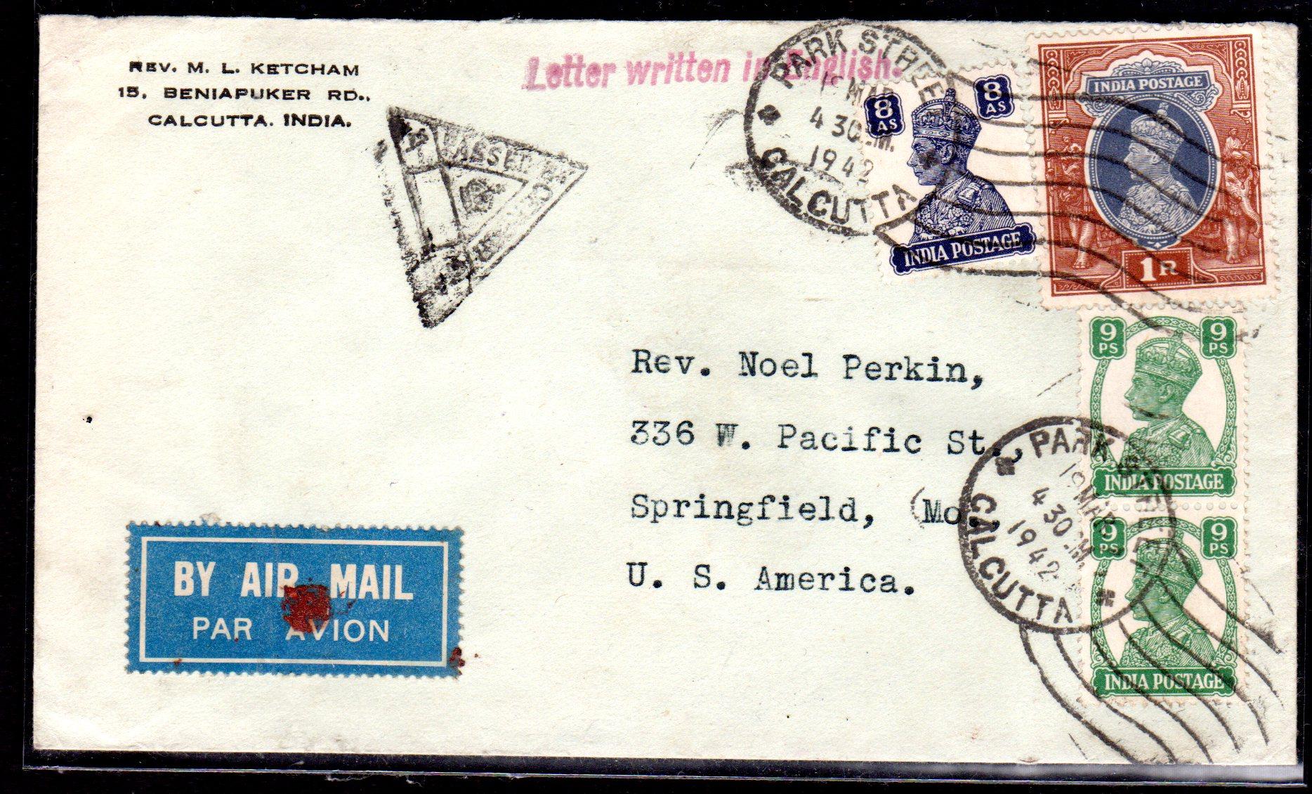 Briefe Nach Indien : Zensurbrief von indien nach usa · philatelie heinemann